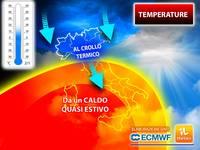 Meteo: TEMPERATURE, da un INGANNEVOLE CALDO al CROLLO TERMICO di quasi 12°C. Le PREVISIONI per i PROSSIMI GIORNI