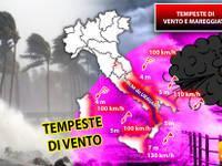 Meteo: TEMPESTE con venti a 130 km/h e MARE in BURRASCA  SCONVOLGONO l'Italia. Ecco le ZONE in forte PERICOLO