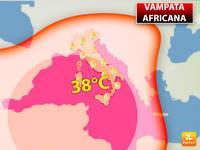Meteo: TEMPERATURE, Scatta l'Ennesima Vampata Africana, picchi di 38°C con Afa. Ecco Quando e Dove