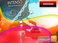 Meteo: WEEKEND, non solo FORTE PEGGIORAMENTO con TEMPORALI INTENSI, ma anche CALDO AFRICANO tra SABATO e DOMENICA