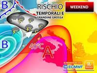 Meteo WEEKEND: da SABATO BOOM AFRICANO fino a 40°C, ma DOMENICA alto rischio di TEMPORALI e GRANDINE GROSSA