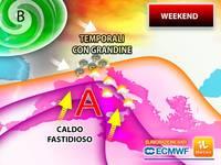 Meteo: WEEKEND, ITALIA SPACCATA tra TEMPORALI SEVERI con GRANDINE GROSSA e CALDO FASTIDIOSO Sabato e Domenica