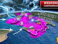 Meteo: WEEKEND COMPROMESSO da un CICLONE MEDITERRANEO. Sabato e Domenica MEZZA ITALIA sotto l'ACQUA. Ecco DOVE