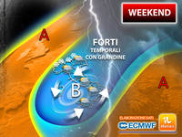 Meteo: WEEKEND INAFFIDABILE, TEMPORALI anche FORTI con GRANDINE e clima FRESCO. Previsioni per SABATO e DOMENICA