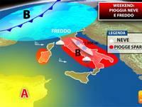 METEO: WEEKEND con piogge, FREDDO e NEVE, ecco DOVE tra SABATO e DOMENICA