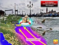 METEO: Italia al CALDO, Venezia SOTT'ACQUA a Pasqua [MAPPE]