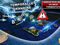 Meteo: APRILE 2019 NERO, TUTTO BURRASCOSO con PERICOLO GRANDINE, pure NUBIFRAGI [ecco le PROIEZIONI UFFICIALI]