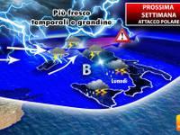 Meteo: PROSSIMA SETTIMANA, attacco POLARE. Clima più FREDDO, TEMPORALI e GRANDINE. Ecco dove
