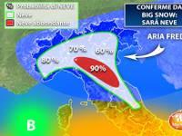 Meteo: BIG SNOW, è confermata la NEVE in PIANURA. Vi diciamo QUANDO e DOVE sarà più probabile [PERCENTUALI]