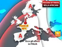 Meteo: Domenica e PROSSIMA SETTIMANA, Bolla Africana su Mezza Europa, fino a 40°C. Ecco gli Effetti in Italia