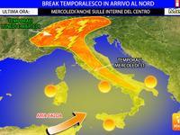Meteo ITALIA ~ BREAK TEMPORALESCO in arrivo al NORD tra Lunedì e MARTEDI', temporali e PIOGGE su molte regioni