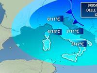 METEO: brusco SCIVOLONE delle temperature. Giù di 10 gradi. Ecco dove farà più FREDDO in Italia.