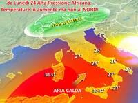 METEO: da Lunedì 24 Alta Pressione Africana, temperature in aumento ma non al NORD! [VIDEO]