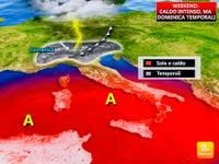 Meteo: DOMENICA CALDO AFRICANO con SORPRESA: IRROMPONO i TEMPORALI, grandine la sera a Torino [MAPPE+VIDEO]