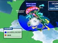 Meteo: CICLONE sull'Italia tra Lunedì e Martedì, forte ondata di maltempo e anche NEVE. Le aree colpite