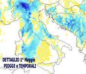 METEO 1° Maggio: MAPPA ad alta risoluzione delle PIOGGE previste regione per regione