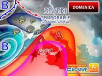 Meteo: DOMENICA TROPICALE, SEVERI TEMPORALI con GRANDINE GROSSA minacceranno un'ITALIA INFUOCATA fino a 40°C