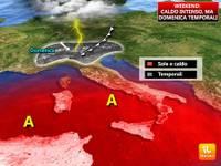 Meteo: una DOMENICA AFRICANA ... ma a sorpresa IRROMPONO i TEMPORALI, ecco dove colpiranno [VIDEO]