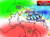 Meteo: Giovedì 26 temporali sul Triveneto, dettaglio province interessate