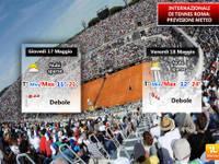 Internazionali di Tennis a Roma. Tempo in miglioramento con più sole e temperature in aumento