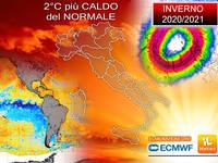 Meteo: INVERNO 2020/2021 ben 2°C più CALDO del NORMALE! Ecco i FATTORI che lo INFLUENZANO