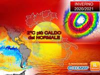 Meteo: INVERNO 2020/2021 sarà più CALDO di 2°C rispetto alla NORMA! Ecco gli EFFETTI sull'Italia