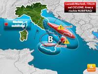 Meteo: Italia tra freddo e vortice di maltempo fino a metà settimana, ecco le aree a rischio NUBIFRAGI