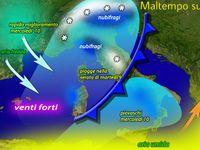 METEO / PERTURBAZIONI a catena sull'Italia, dettaglio REGIONE per REGIONE della pioggia e NEVE di MARTEDI