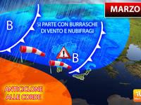 Meteo: MARZO, Anticiclone alle Corde, si parte con BURRASCHE di VENTO e NUBIFRAGI. Ecco la TENDENZA COMPLETA