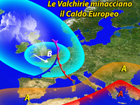 EUROPA » clima PAZZO, ciclone Valchirie, temporali e GRANDINE su molti STATI