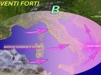 Meteo ~ ITALIA SPAZZATA dal VENTO, raffiche FORTISSIME oltre i 100 km/h. Le PREVISIONI