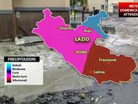 Meteo: LAZIO, Domenica di forte maltempo, nubifragi diffusi, anche a ROMA