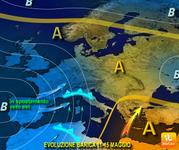 Meteo: 11-15 Maggio, fase perturbata con doppio ciclone al Nord. Alto rischio di NUBIFRAGI!