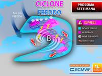 Meteo: PROSSIMA SETTIMANA, da Lunedì CICLONE FREDDO dal NORD EUROPA, tanto MALTEMPO, NUBIFRAGI e pure NEVE