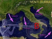 TEMPESTA in Italia: CICLONE con VENTI burrasca a 100 km/h in Italia specie al Centro-Sud