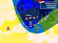 Meteo: NATALE e SANTO STEFANO con CICLONE ATLANTICO. Pioggia e anche NEVE [AGGIORNAMENTO UFFICIALE]