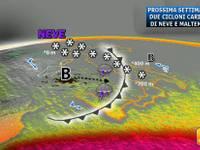 Meteo: da Lunedì 21 DOPPIO CICLONE da PRIMATO. Carico di NEVE e tempeste di PIOGGIA e VENTO [DETTAGLI]
