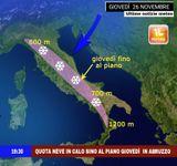 NEVE: oggi e domani in Italia a quote bassissime, forte in Abruzzo Giovedì, 80cm in 24 ore