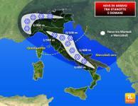METEO: notte di NEVE su alta Lombardia fino a Milano, Piemonte, Toscana, Marche, Umbria