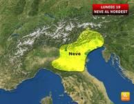 METEO Italia: arriva BURIAN bis, Lunedì 19 NEVE in PIANURA al Nordest [MAPPA]