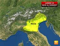 METEO Italia: effetto BURIAN bis, Lunedì 19 NEVE in pianura al Nordest [MAPPA]