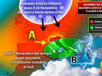 Meteo: NOVEMBRE tra ondate di maltempo, Estate di San Martino e la NEVE a fine mese