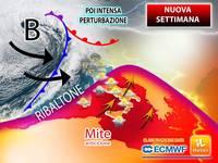 Meteo: NUOVA SETTIMANA con Ribaltone, da Lunedì Tiepido Anticiclone, poi Intensa PERTURBAZIONE. Le Previsioni