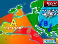 Meteo: NUOVA SETTIMANA a 2 Facce, da Lunedì Anticiclone delle Azzorre, poi ATTACCO FREDDO dalla RUSSIA. I dettagli
