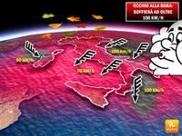 METEO FOCUS VENTI FORTI: la BORA sta per soffiare ad oltre 100 km/h. Ecco dove e quanto durerà