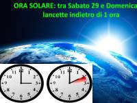 ORA SOLARE 2016:  tra Sabato 29 e Domenica 30 OTTOBRE lancette indietro di 1 ora