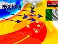 Meteo: Mercoledì 25 APRILE, ultime ore di Sole [VIDEO]