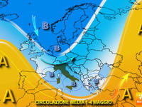 METEO, previsione prima metà di MAGGIO, tra affondi instabili e CALDO ANOMALO
