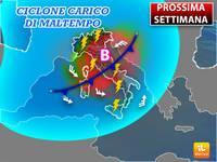 Meteo: PROSSIMA SETTIMANA, già da Lunedì CICLONE carico di Maltempo sull'Italia. Ecco le Previsioni