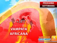 Meteo: PROSSIMA SETTIMANA, già da Lunedì VAMPATA AFRICANA a 38°C. Ecco le PREVISIONI Dettagliate
